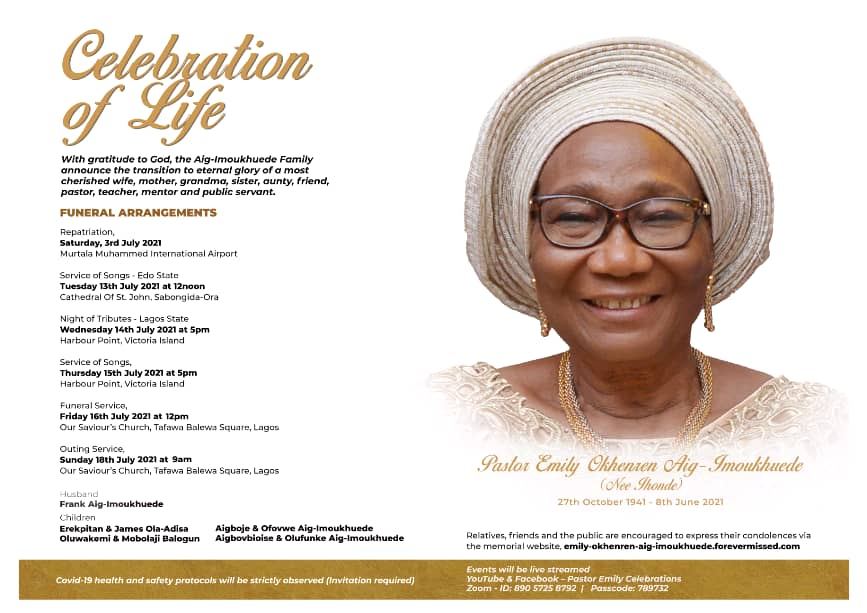 Pastor (Mrs) EMILY OKHEREN AIG-IMOUKHUEDE